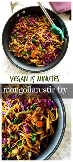 Vegan Mongolian noodles and veggies stir fry in spicy soy ginger sauce makes quick and easy weeknight dinner.