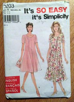 Very Easy Dress Pattern Flared Dress Pullover Dress by Ziatacraft Tunic Sewing Patterns, Simplicity Sewing Patterns, Vintage Sewing Patterns, Dress Patterns, Paper Patterns, Clothes Patterns, Easy A, Simple Dresses, Short Dresses