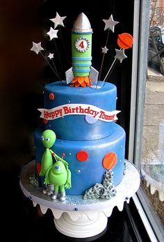Outer Space 4th Birthday Cake