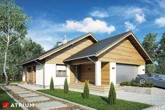 Wizualizacja AT Bursztyn V CE House Plans, Garage Doors, Cabin, Mansions, House Styles, Outdoor Decor, Studio, Home Decor, House Plans With Pool