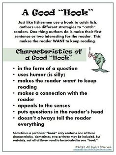 Free Download ~ Characteristics of a Good Hook | This Reading Mama (with great directions for teaching writing hooks from children's authors)