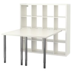 """IKEA - KALLAX, Workstation, white, , You can choose the height of your work surface, between 26 3/8-42 1/8"""", with the height adjustable legs.You can use the connection hardware to attach any non-glass table top in our range to a KALLAX shelf unit.The connection hardware will not scrape or scratch the table top because it's lined with protective felt."""
