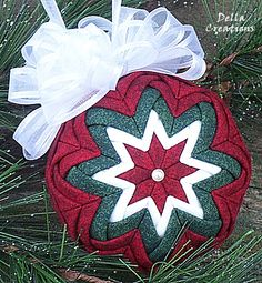 """2.5"""" Quilted Ornament - Dark Red, Dark Green, and White Fabric w/White Bow"""
