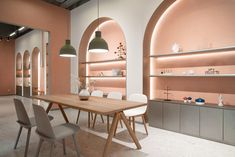 The Pantone colour of the year, living coral, is alive and well in this Chinese furniture store - News - Frameweb Boutique Interior, Showroom Interior Design, Cafe Interior, Interior Architecture, Pharmacy Design, Retail Design, Cafe Design, Küchen Design, Chinese Furniture