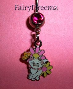 MARIE Kitty CAT From The Aristocats Flowers & Butterfly Disney Belly Navel Ring Body Jewelry
