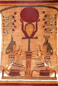 Adoration of Ra: Osiris as the Djed Pillar holding the Disc of the Sun God Ra supported by an ankh symbol representing Life, surrounded by Isis and Nephthys, Egyptian Book of the Dead, Papyrus of Ani....