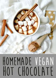 Get toasty! Homemade Vegan Hot Chocolate - Luscious, comforting, & easy to make. You'll never buy store-bought again after drinking this healthier version! Gluten Free Desserts, Vegan Desserts, Raw Food Recipes, Fall Recipes, Gf Recipes, Vegan Treats, Quick Recipes, Vegan Food, Vegetarian Recipes