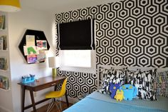Shop the Look: Modern Black and White Kids Bedroom With Workspace >> http://photos.hgtv.com/rooms/viewer/bedroom/black-and-white/kids%27-bedroom-with-bold-black-%26-white-graphic-wallpaper?soc=pinterest