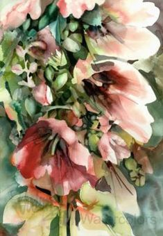 I love this artist's style..... HOLLYHOCKS Flowers Patio Garden Watercolor Art by steinwatercolors