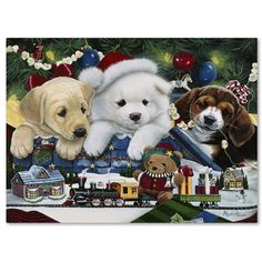 """Trademark Art """"Curious Christmas Pups"""" by Jenny Newland Graphic Art on Wrapped Canvas Size: 35"""" H x 47"""" W x 2"""" D"""
