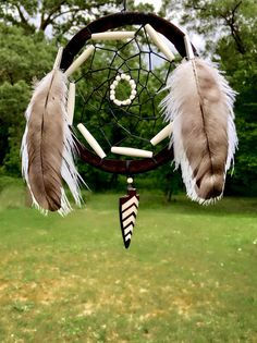 Native American Dreamcatcher  Buckskin  Buffalo Bone  Sage