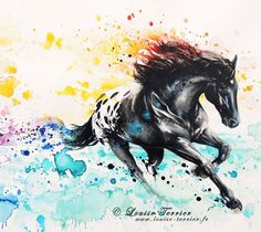 Tropical wild horse mixed media by Louise Terrier- watercolor horse tattoo idea