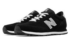 501 New Balance Suede, Black with Silver - $54.99