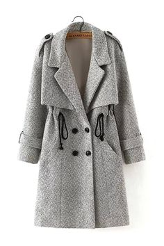 online shopping for PERSUN Women Gray Lapel Drawstring Woolen Trench Coat from top store. See new offer for PERSUN Women Gray Lapel Drawstring Woolen Trench Coat