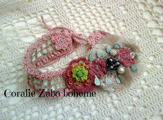 Bijou de tête,bandeau,headband romantique dentelle crochet fait-main unique : Accessoires coiffure par coralie-zabo-boheme