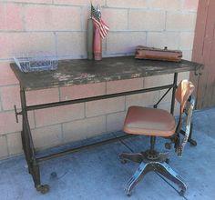 Vintage industrial metal adjustable workbwnch / desk