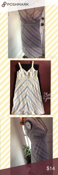 """Pretty Little Summer Strappy Sundress No tags-looks like a small to me. Great for the beach with sandals! Cool Summer Fun wear! Laying flat; 7"""" Strap-doubled. Across and under bust 18""""- 19"""", 31"""" from back top of hook to hem. Snap on front at cleavage. Gathers on both sides of front, 4 darts on back. Zipper on back with hook and eye at top. White background with diagonal stripes in blue, beige, white. Looks to be a small or a medium form fitted on mannequin. Mannequin is a size 16 and doesn't…"""