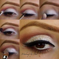 White Glitter Eye Makeup Tutorials