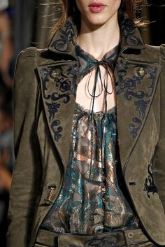 Brown suede suit and sheer metallic top. | Emilio Pucci Fall 2011 Ready-to-Wear - Details