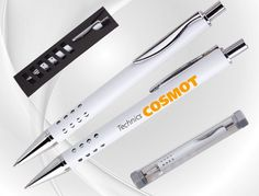 SPLENDIX Metallkugelschreiber weiß lackiert mit hochwertiger BEKRO-Mine schreibt 5.000 m. Schon ab 1,10 € per Stück bei 50 Stück. #metallkugelschreiber #kugelschreiber metall