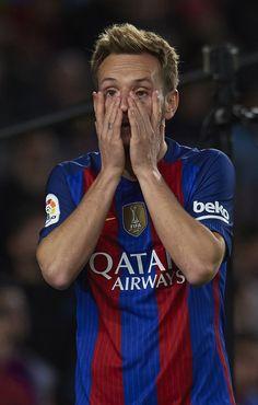 Ivan Rakitic of Barcelona reacts during the La Liga match between FC Barcelona and Malaga CF at Camp Nou stadium on November 19, 2016 in Barcelona, Spain.