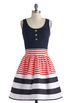 Schooner Said Than Done Dress - Nautical, Mid-length, Blue, Red, White, Stripes, Buttons, Party, Fit & Flare, Tank top (2 thick straps), Scoop, Summer