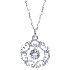 14k White Gold Diamond Fashion Necklace | Gabriel & Co NY | NK3388W44JJ