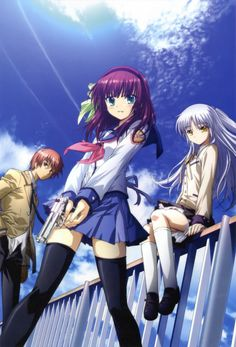 Angel Beats.  -  *Good!*  Otonashi, awaking with amnesia, learns he is dead and in a school/war battlefront afterlife.  Their enemy is a Angel.  Unable to believe Yuri's claims that Angel is evil, Otonashi attempts to speak with her, but Angel stabs him in the heart with her blade.  Otonashi decides to join the battle against Angel, but he finds himself oddly drawn to her. While trying to regain his memories and understand Angel, he gradually unravels the mysteries of the afterlife.