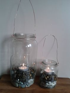 Lantern made from old jars and copper wire.