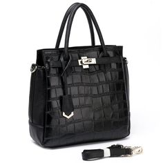 Black Crocodile Pattern Leather Tote