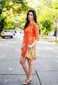 look vestido laranja