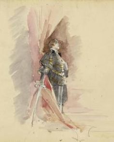 French actress Sarah Bernhardt in Hamlet. Water colour by Louise Abbema.