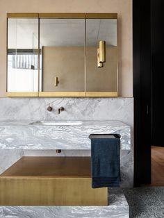 bathroom by Flack Studio with brass and marble #hellopeagreenspots #bathroom #interiordesign #brass