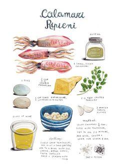 Calamari ripieni- illustrated recipe