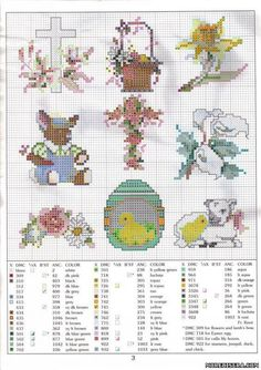 Chart PATTERN bead cross egg lamb chick bunny the flower cross in centre is intriquing