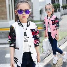 US $14.62 -- Coats For Girls Cotton Casual Children Jackets For Girls Long Sleeve Cartoon Big Kids Clothes Spring Active Sports Girls Jackets aliexpress.com