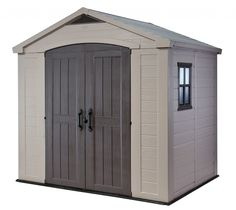 Keter Factor x Resin Storage Shed, All-Weather Plastic Outdoor Storage, Beige/Taupe Image 1 of 15 Garden Storage Shed, Outdoor Storage Sheds, Storage Shed Plans, Diy Shed, Outdoor Sheds, Plastic Storage Sheds, Plastic Sheds, Keter Sheds, Resin Sheds