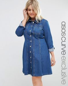 Image 1 ofASOS CURVE Swing Dress with Flippy Skirt in Mid Wash