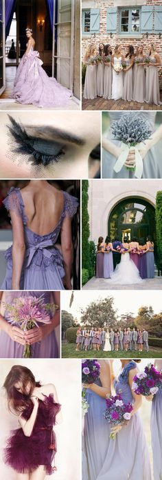 Different shades of purple - bridesmaid dresses