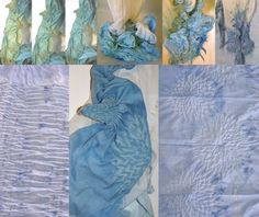 Shibori organic cotton scarf natural woad & indigo by dyeing2meetU on Etsy
