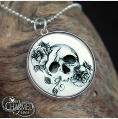 Genuine Sterling Silver Gothic Skull And Roses Pendant/Charm