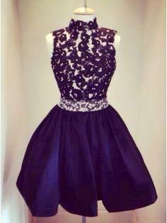 Applique Short Black Prom Dresses Homecoming Dresses Cocktail Dresses #SIMIBridal #homecomingdresses