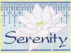 "Spiritual needlepoint - Serenity Lotus, hand-painted, 6"" x 8"" on 18 mesh canvas, Made in Sedona, Arizona"
