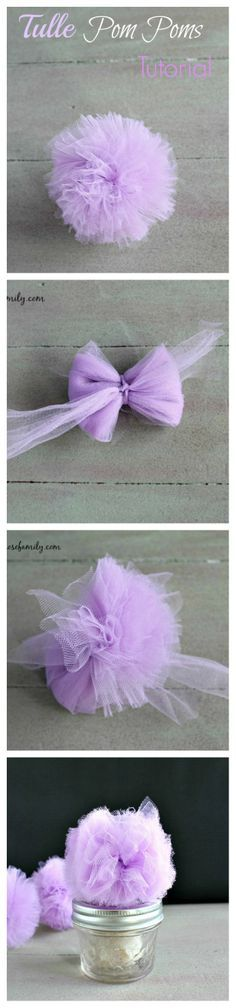 Tulle Pom Poms Tutorial for party favors or decorations. Tulle Pom Poms Tutorial for party favors or decorations. Diy Flowers, Fabric Flowers, Paper Flowers, Paper Poms, Tule Flowers, Tissue Paper Pom Poms Diy, Crochet Flowers, Fun Crafts, Diy And Crafts