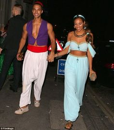 Rochelle and Marvin Humes wow as Aladdin and Jasmine at Disney bash Prinzessin Jasmin Kostüm Aladdin Halloween, Original Halloween Costumes, Cute Couple Halloween Costumes, Best Couples Costumes, Disney Costumes, Halloween Kostüm, Family Halloween, Halloween Outfits, Mermaid Costumes