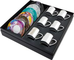 Damien Hirst, Mixed anamorphic cups and saucers – Box Set of 6