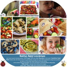 Healthy, Happy Kids Lunch Boxes cooking demonstrations at the 2015 Agricultural Show with using beautiful produce Healthy Kids, Healthy Recipes, Lunch Boxes, Sunshine Coast, Cooking With Kids, Happy Kids, Kids Meals, Food Ideas, Author