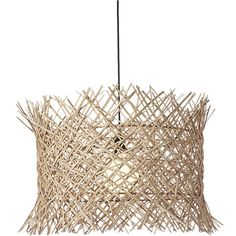above the fray. Easy, breezy and laid-back, this earthy pendant highlights the textural beauty of nature. Handwoven by Filipino artisans, rattan fibers intersect an organic grid that's bordered top and bottom by a frayed edge. Exposing the glow of a single bulb within, airy cylindrical pendant suspends from a contrasting black cord and canopy. Bulb not included.