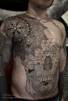 amazing skull tattoo by thomas hooper i love his patterns and simple black lines meditationsinatra...