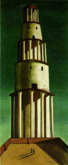 """The Great Tower"" by Giorgio de Chirico. In the years before World War I, he founded the 'scuola metafisica' art movement, which profoundly influenced the surrealists. Max Ernst, Italian Painters, Italian Artist, Magritte, Tower Of Babel, Marc Chagall, Painting Gallery, Arte Popular, Traditional Paintings"